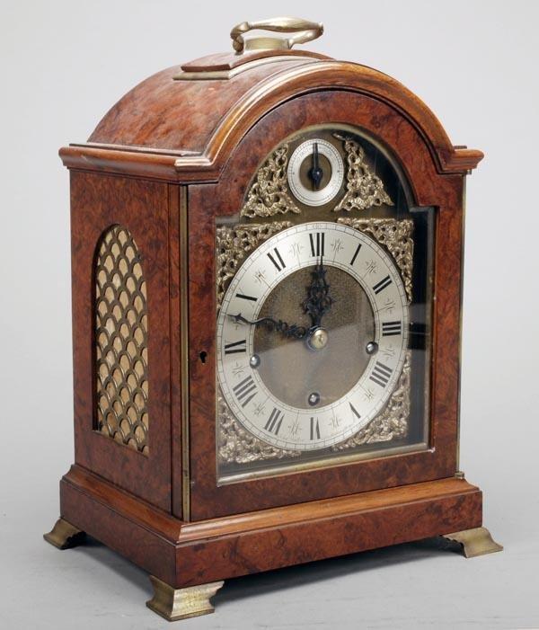 5: A burr walnut quarter chiming bracket clock, 20th