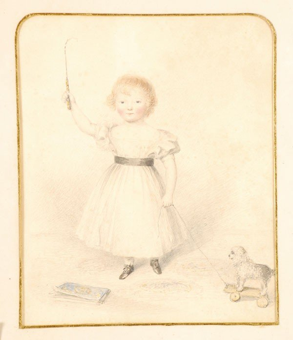 461: English School (19th century). Young girl with toy