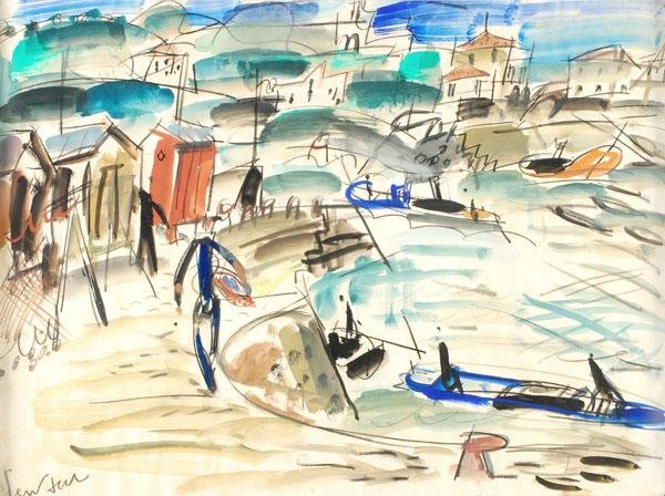 468: French School (20th century). Harbour scene. Mixed