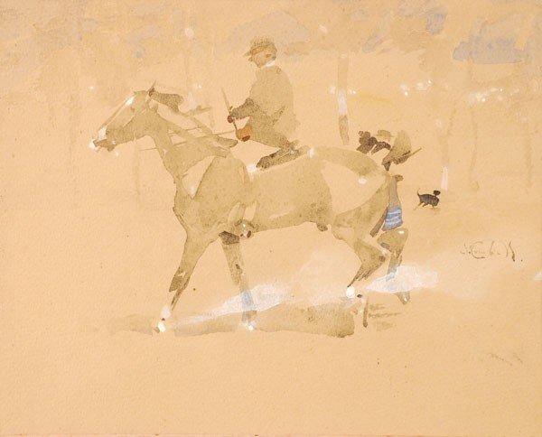 471: Joseph Crawhall (1861-1913). Man on horseback. Wat