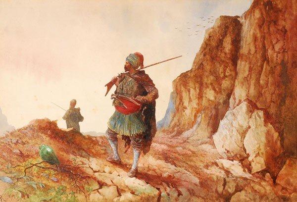 477: H. J. Rossi (19th century). On guard. Watercolour.