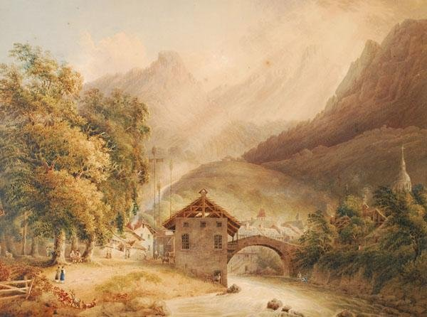 478: Swiss School (19th century). View of a riverside a