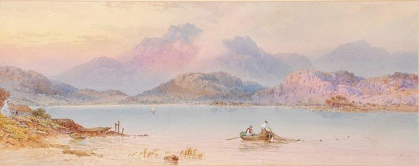 479: Circle of Henry Earp. Mountainous lake scene with