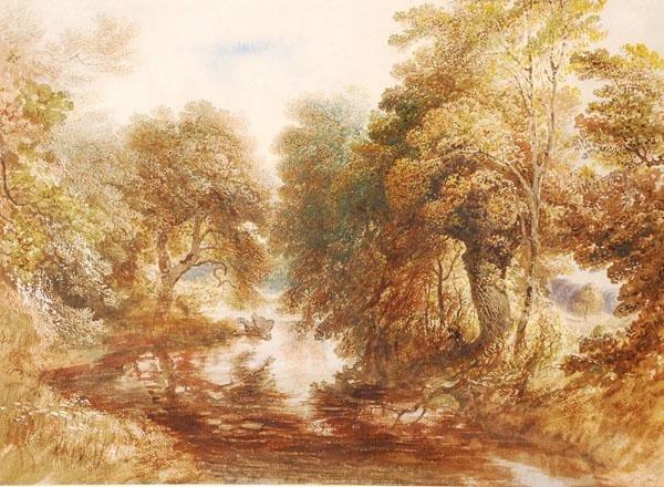 480: John Martin (1789-1854). A Woodland scene. Waterco