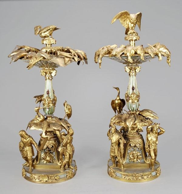 562: A pair of unusual gilt metal, bronze and faux hard
