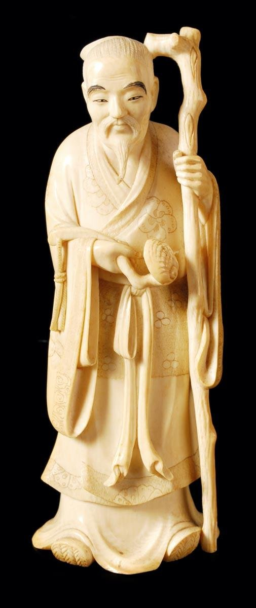 5: Japanese ivory carving of a standing bearded sage