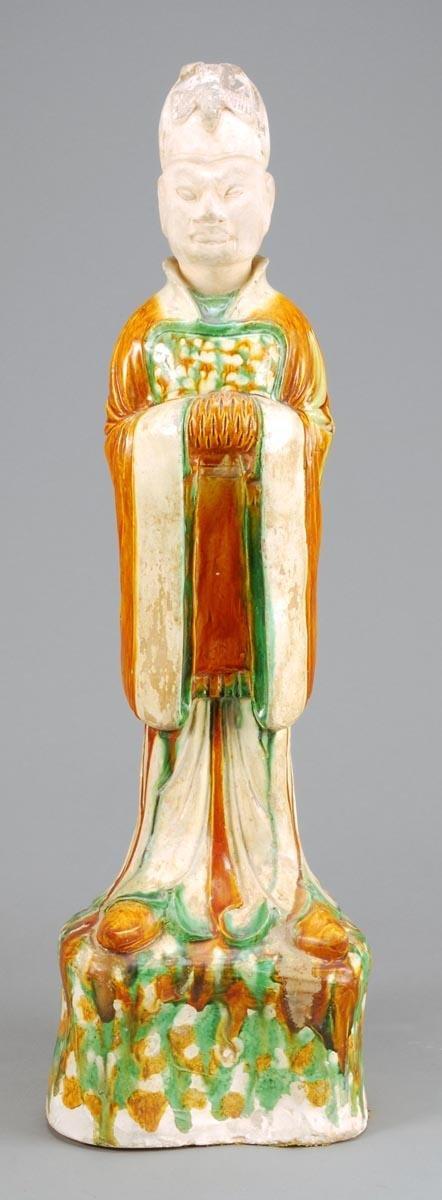 76: A large Chinese sancai-glazed pottery figure of a
