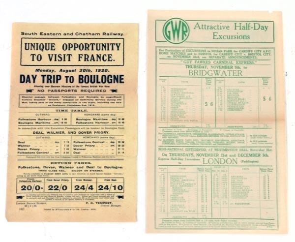2: Thirty-five railway excursion leaflets, circa 1920