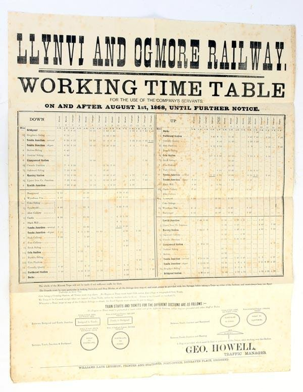 8: A Llynvi and Ogmore Railway working time table, va