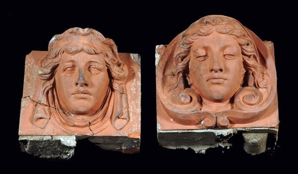 5: Two Victorian terracotta architectural keystones,