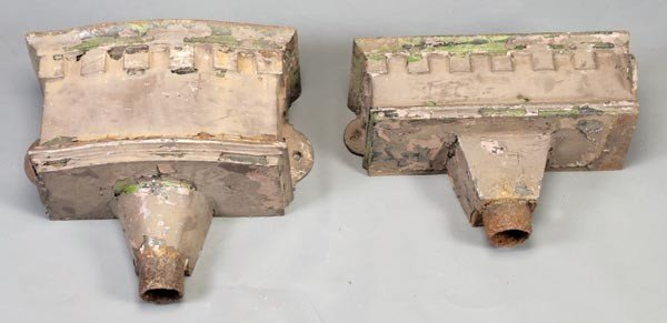 6: A pair of Victorian painted cast iron wall mountin