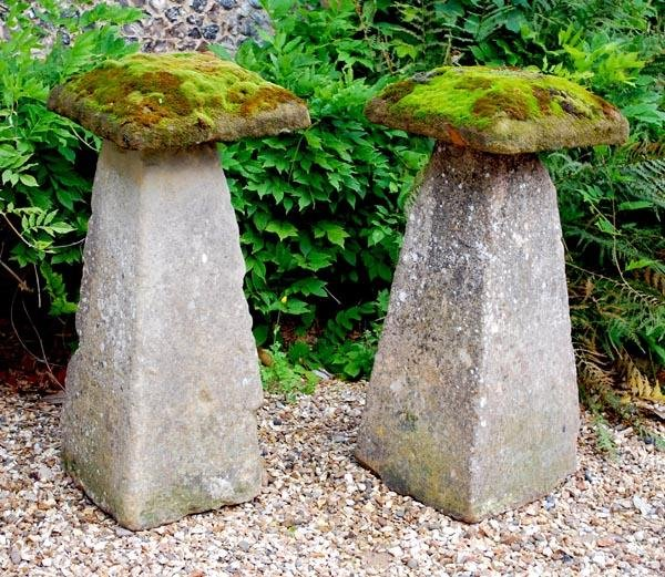 10: A pair of substantial rough hewn staddle stones an