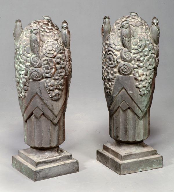 12: A pair of Art Deco bronze pier finials, circa 1930