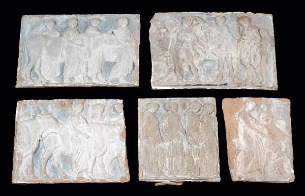 13: Six assorted relief cast plaster panels, 19th cent