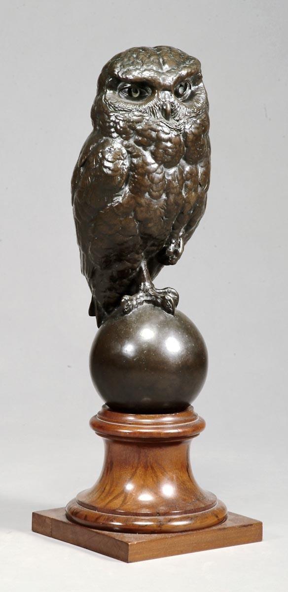 19: A bronze model of a little owl,  20th century, por
