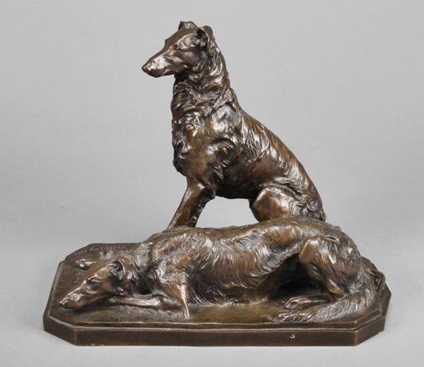 21: A French bronze group of two hounds entitled 'Chic