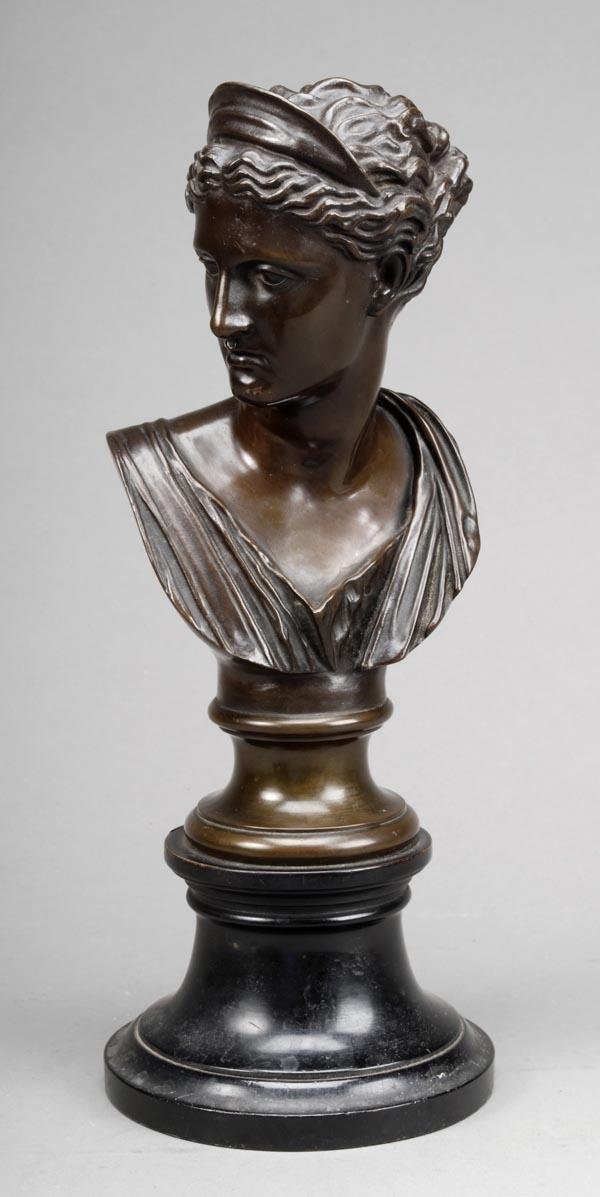 22: A French patinated bronze bust of Diana, last quar