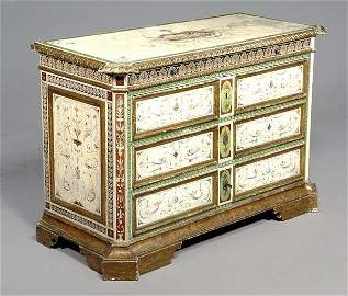 434: An Italian painted and parcel gilt commode, late 1