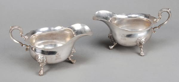 7: A pair of George II Irish silver oval sauce boats