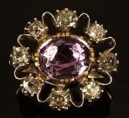 242: A Georgian amethyst and diamond cluster ring, circ