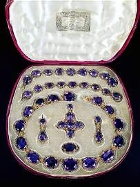 243: An early 19th century gold and amethyst parure, ci