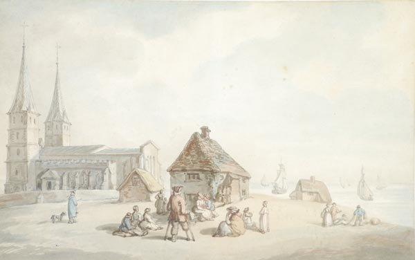 3: Thomas Rowlandson (1756-1827), Figures outside Rec