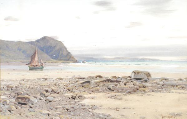 11: Isaac Cooke (1846-1922), Low tide, watercolour and