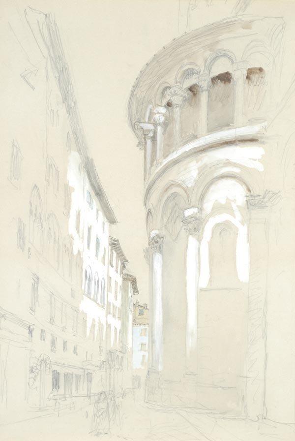 14: John Ruskin (1819-1900), Apse of a church, Lucca,