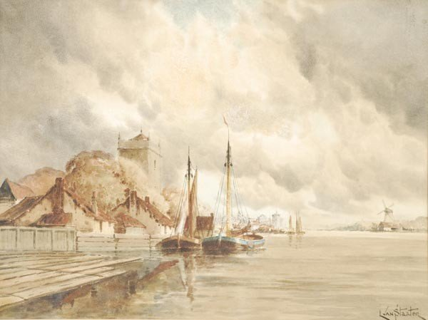 22: Louis van Staaten (1836-1909), Dutch canal views,