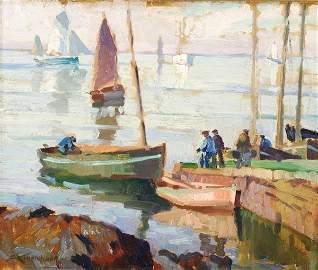 82: Sydney Lough Thompson (1877-1973), Harbour scene,