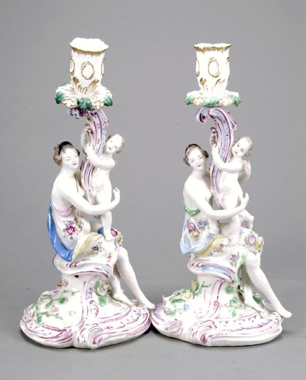1: A pair of Bow candlestick groups of maidens with p