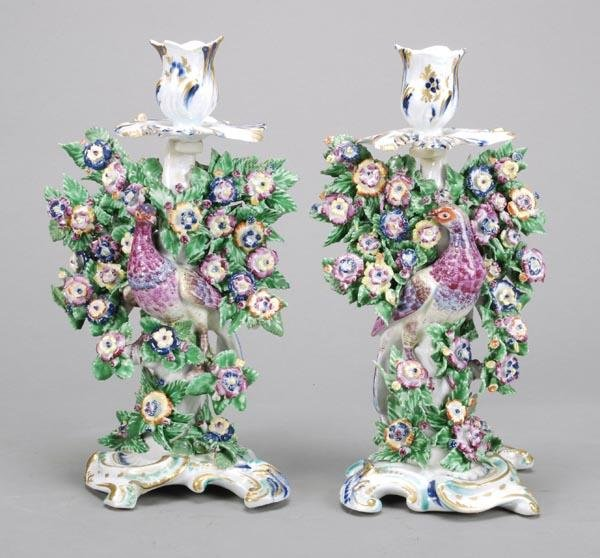 2: A pair of Bow candlesticks groups of pheasants wit