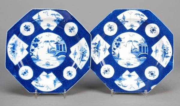 6: A pair of Bow powder-blue-ground octagonal plates