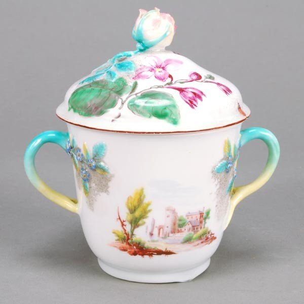 11: A Chelsea two-handled cup and a cover, painted wit