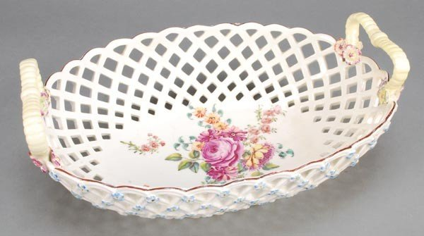 14: A Chelsea pierced oval twin-handled basket, the ex