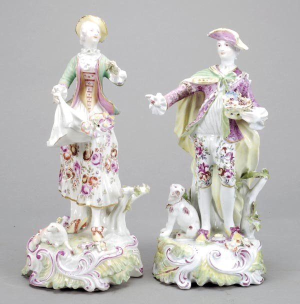17: A pair of Derby figures of a shepherd and companio