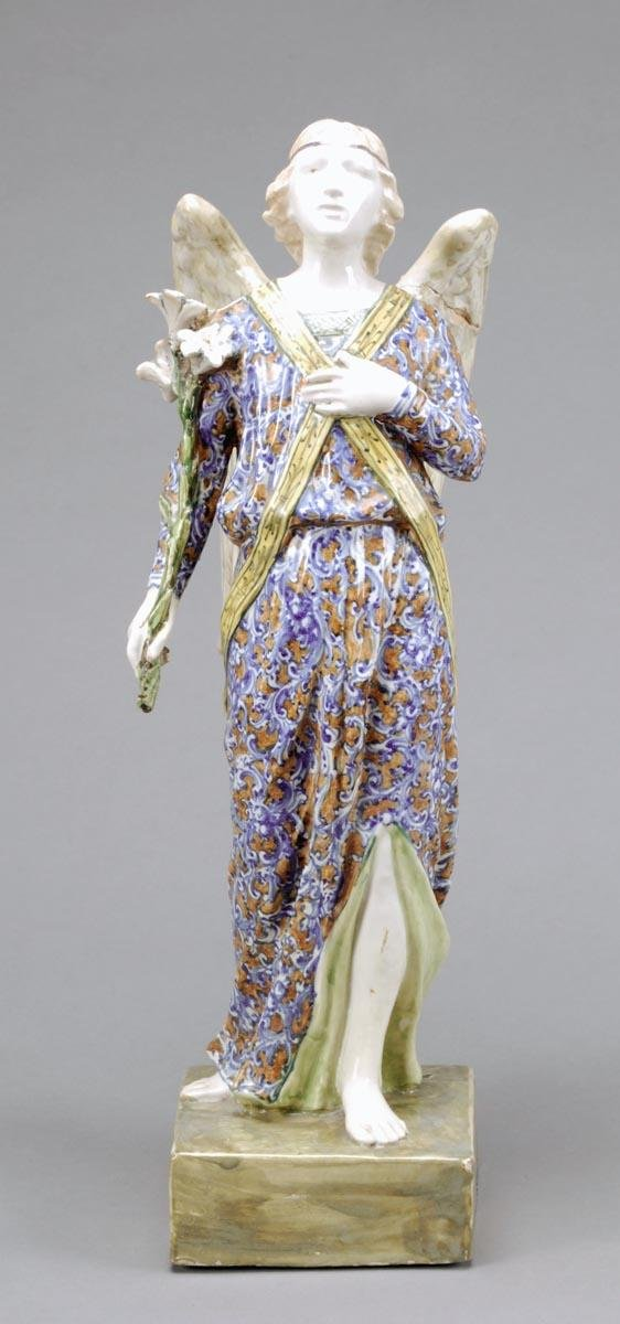 338: An Italian maiollica figure of the archangel Gabri