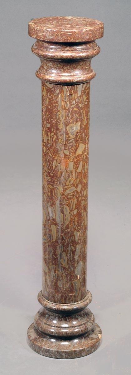 1: A variegated rouge marble columnar pedestal, 19th
