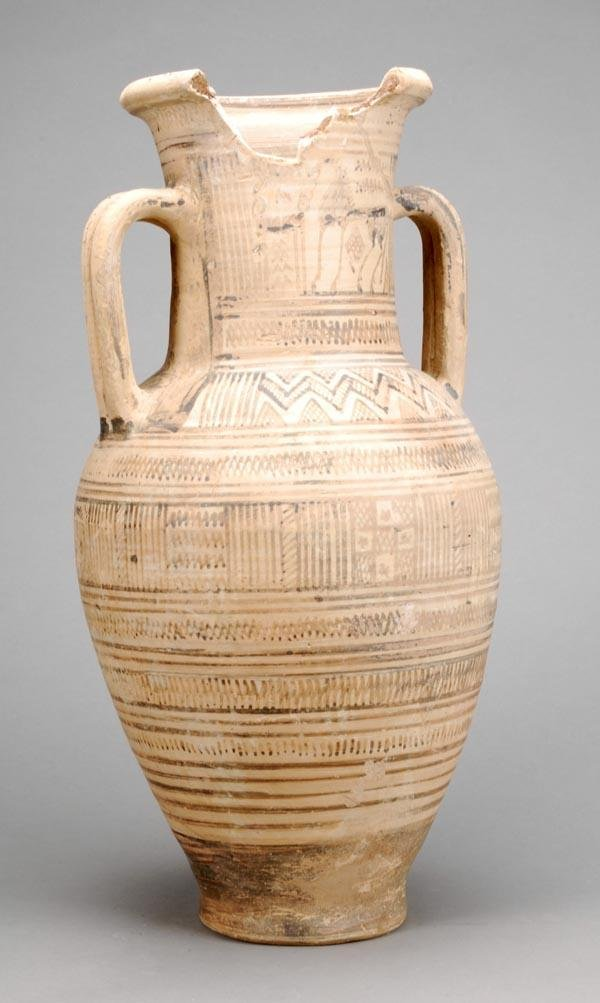 8: A late Cypriot pottery twin handled vase, late Bro