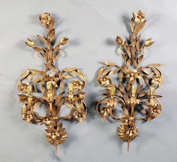 24: A set of four Continental gilt and pressed metal t