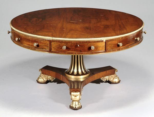 248: A George IV rosewood, parcel gilt and gilt metal m