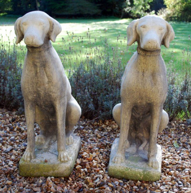 3: A pair of stone composition models of seated hound