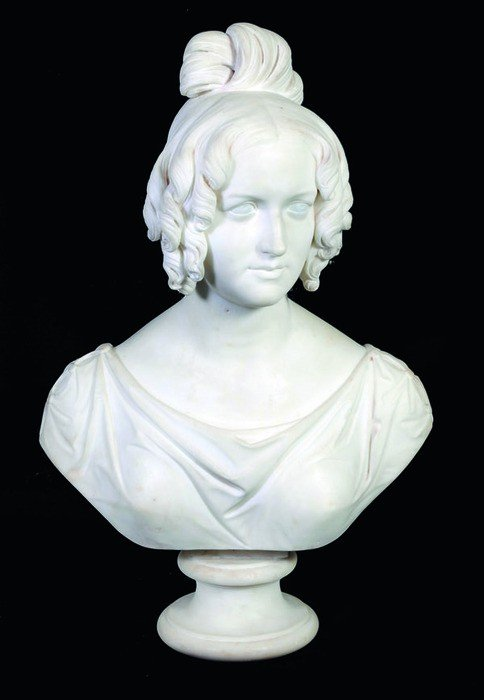 10: An early Victorian sculpted white marble bust of a
