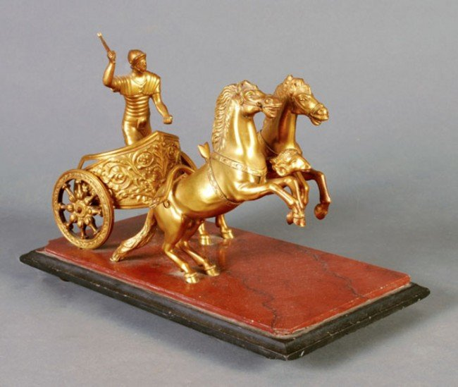 13: A Continental gilt bronze and marble mounted chari