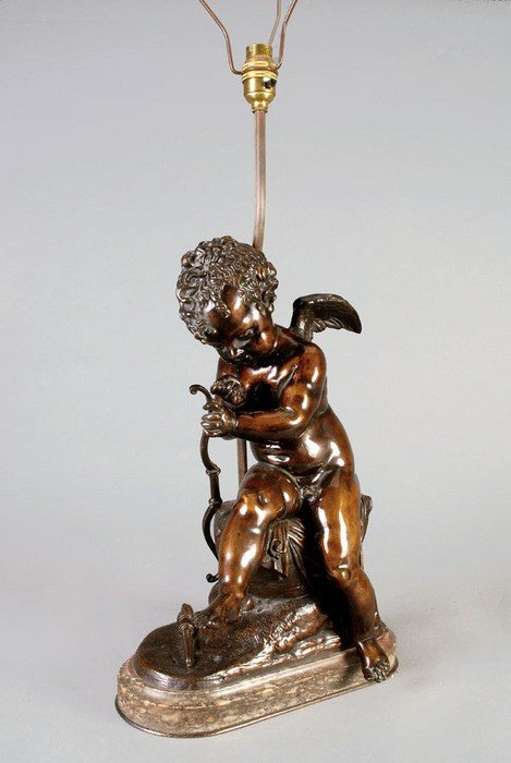 18: A Continental bronze and marble mounted model of C