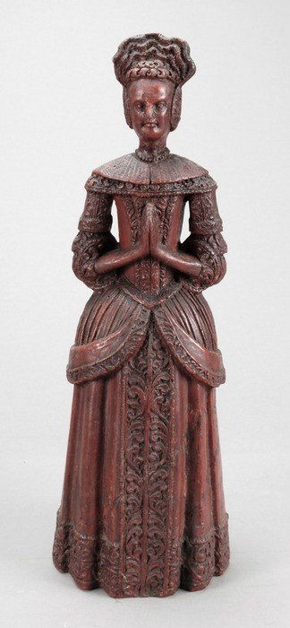 22: A sculpted red wax model of a lady, probably early