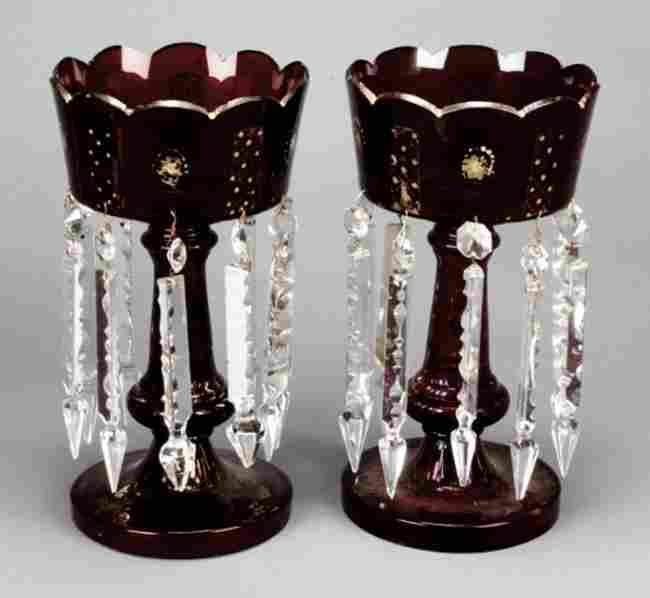 25: A pair of Victorian parcel gilt cut ruby and clear