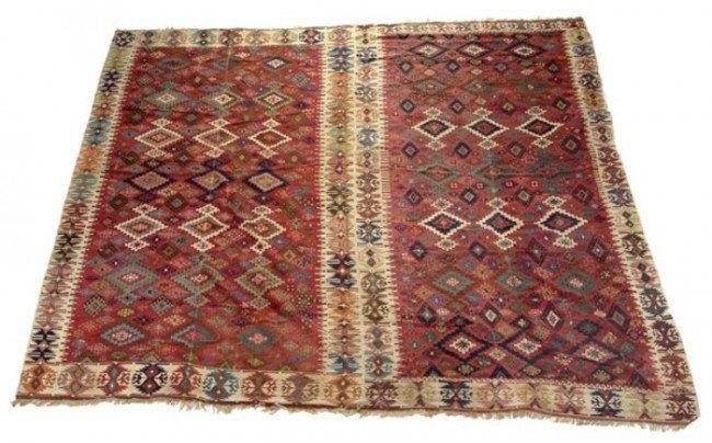 432: A Turkish kilim rug, approximately 346 x 320cm
