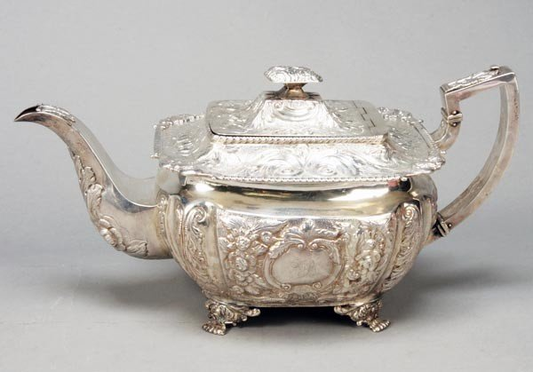 1: A George IV Irish silver shaped oblong tea pot, th