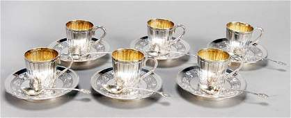 111: A Chinese export silver set of six coffee cups and